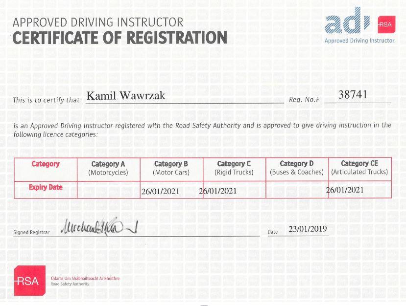 Certyfikat Instrukrora Jazdy